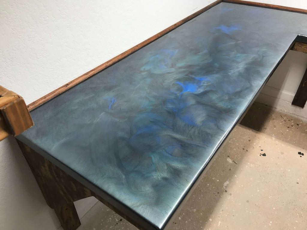 Base Color: Titanium, Highlight: Deep Blue & Moss Green, Glaze Top Coat