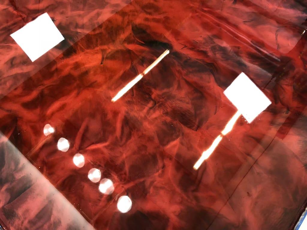 Base Color: Deep Red, Highlight: Black, Glaze Top Coat
